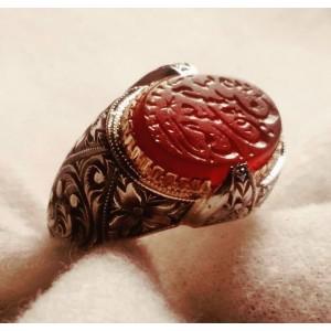 Osmanlı Antik  Kırmızı Mühür Taşı Nurullah Daştan Özel Tasarım Kalemişi Gümüş Yüzük