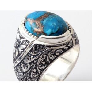 Orjinal Fruze Taşlı Nurullah Daştan Usta Özel Tasarım Kalemişi Gümüş Yüzük