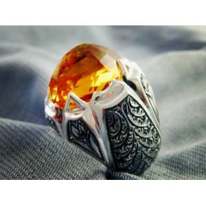 Citrine Safir Taşlı Nurullah Daştan Usta Özel Tasarım Kalemişi Gümüş Yüzük