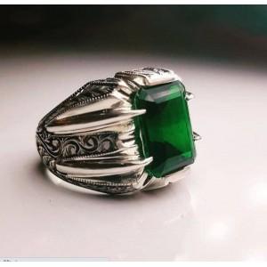 Nurullah Daştan Usta  Yeşil Topaz İşlemeli Kalemişi Gümüş Yüzük