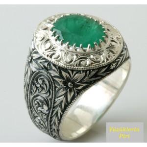 Nurullah Daştan Usta - Orjinal Zürmrüt Taşlı Özel Kalem işi Gümüş Yüzük