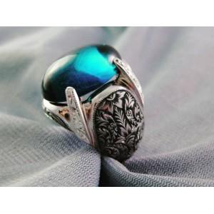 Nurullah Daştan Usta Safir Taşı Özel Tasarım  Kalemişi Gümüş Yüzük