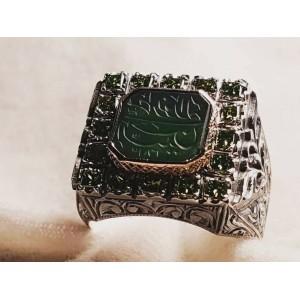 Nurullah Daştan Usta Green Agate Stone Özel Kalem işi Gümüş Yüzük