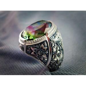Zultanite Taşı Nurullah Daştan Usta Özel Tasarım Kalemişi Gümüş Yüzük