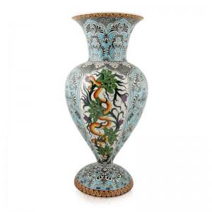 Ejder Desenli  İznik Çini  Vazo Hediyelik - M. Gürsoy Koleksiyonu