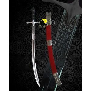 Seçuklu Tarzı Dövme Çelik Oluklu Kılıç + Kızıl  Kın