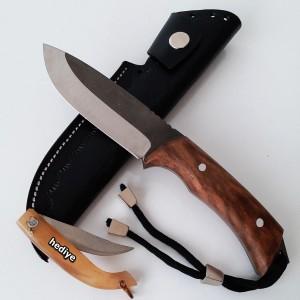 Bushcraft Doğa Kamp ve Avcı Bıçağı (Deri Kılıf Hediyeli