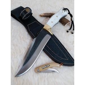 Kamyon Makası Dövme Çelik Çif Ağızlı Bıçak (Deri Kılıf Hediyeli)